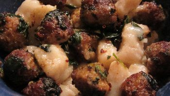 Cauliflower Gnocchi and Turkey Meatballs with White Sauce