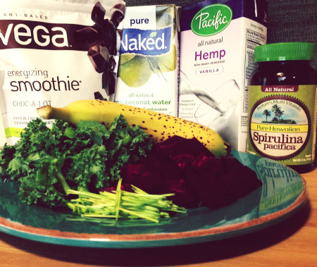 Vega One Beet Recipes Blended into a Delicious Purple Green Smoothie Recipes!